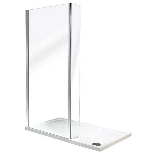 Roman Collage Wetroom Corner Panel With Return Panel - 900mm Wide - Silver